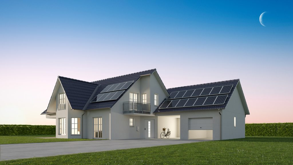 grid energy usage in a house with & without